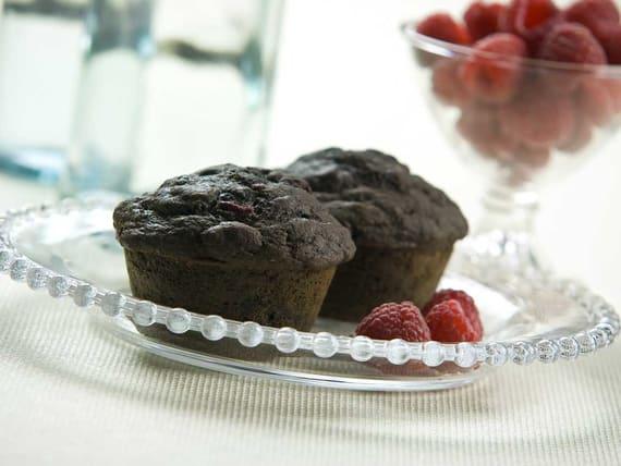 Muffins au chocolat et aux framboises